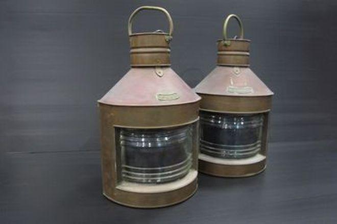 Decorative Copper Port & Starboard Marine Lamps