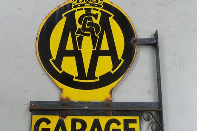Enamel Sign - AA SA Garage double sided with mount (63cm h x 46cm w)