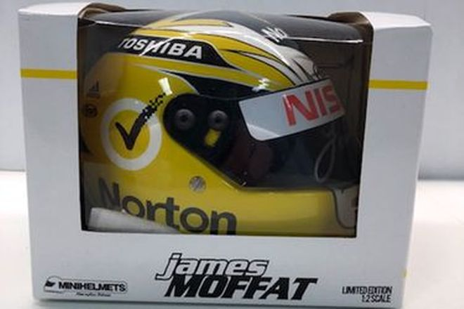 Model Car - James Moffat mini Helmet Signed