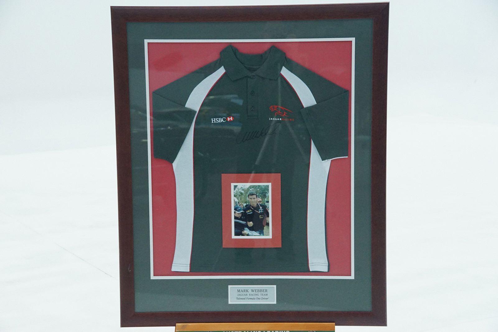 Mark Webber Signed Jaguar Shirt in Frame