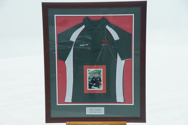 Mark Webber Signed Jaguar Shirt in Frame