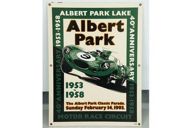 Enamel Sign - Albert Park 40th Anniversary with D-Type (#66/100) 50 x 66cm