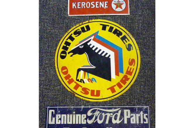 Signs x 3 - Texaco Kerosene (42 x 22cm), Ohtsu Tyres Painted (60cm), Genuine Ford Parts (70 x 25cm)