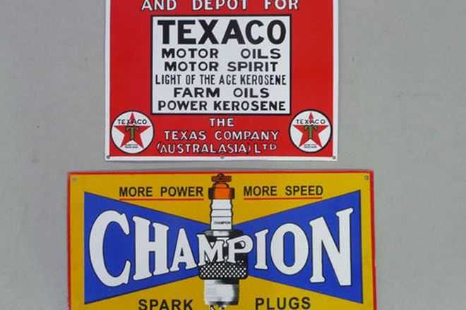 Enamel Signs - Champion (600 x 300mm) & Texaco (460 x 380mm) (Reproduction)