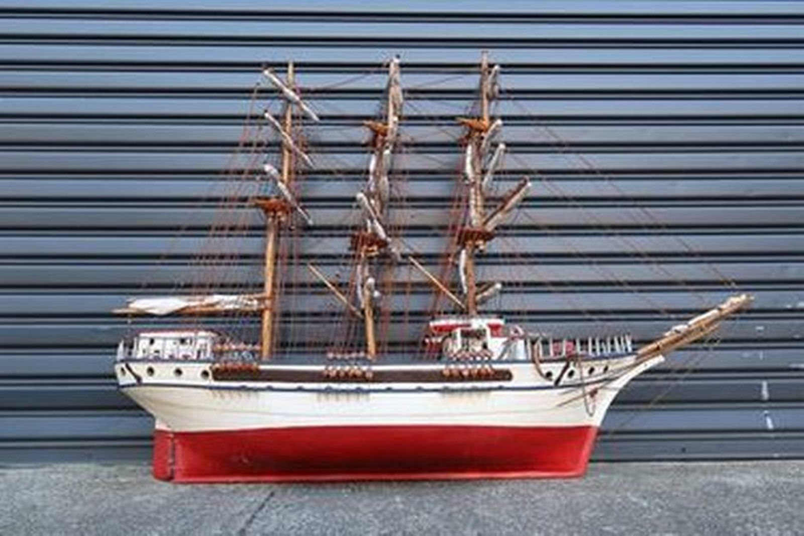 Model Ship - Scratch Built Timber 3 Mast Sailing Ship 'Gugliemo Marconi' (190 x 140 x 50cm)