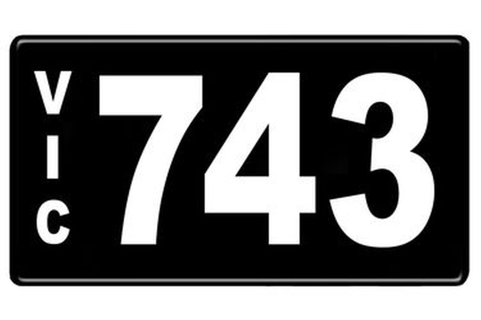 Number Plates - Victorian Numerical Number Plates '743'