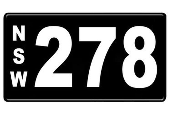 Number Plates - NSW Numerical Number Plates '278'