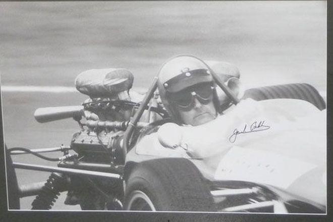 Framed Signed Print - Sir Jack Brabham Driving Repco Brabham (90cm x 65cm)