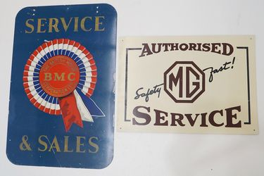 Tin Signs - MG Service Safety First Single Sided - BMC Service & Sales Double Sided