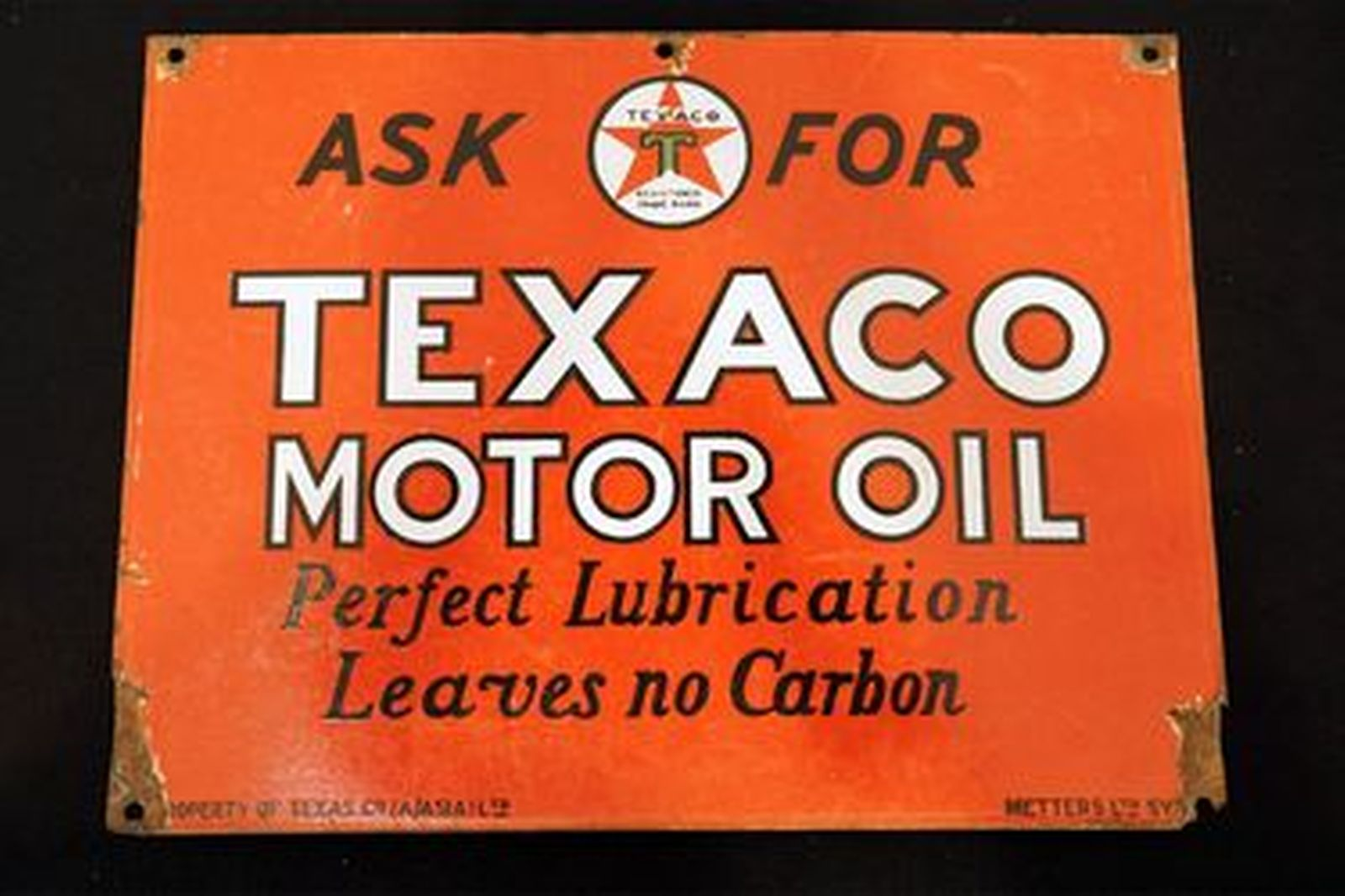 Enamel Sign - Texaco Motor Oil (from oil rack)