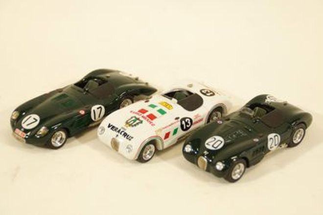 Model Cars x 3  - early 1980s Top Model Jaguar C-Types in Resin (1:43 scale)