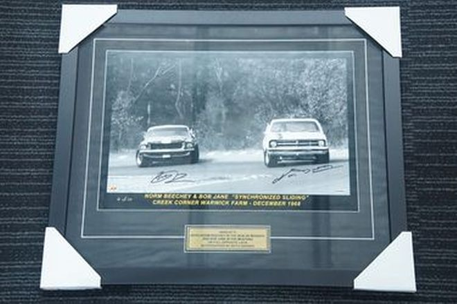 Framed Photo - Synchronized Sliding Warwick Farm 1968 Bob Jane & Beechey (61 x 71cm)