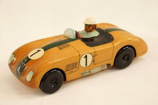Model Car - Jaguar C-Type painted & hand carved in Tasmanian Huon Pine by Mac-Lovell, Tasmania