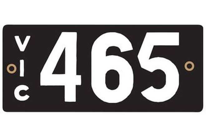 Victorian Heritage Numerical Number Plate - 465