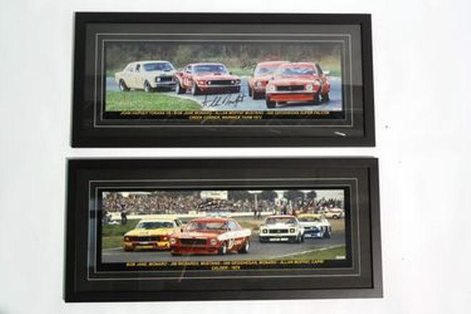Framed Signed Photos x 2 - 'Sports Sedans' 1975 Calder (92 x 41cm) & 1972 Warwick Farm (92 x 41cm)