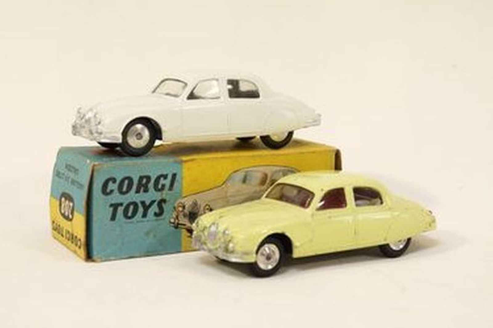 Model Cars x 2  - Corgi diecast Jaguar Mk2 2.4 Saloon White (with Box) & Yellow (1:43 scale)