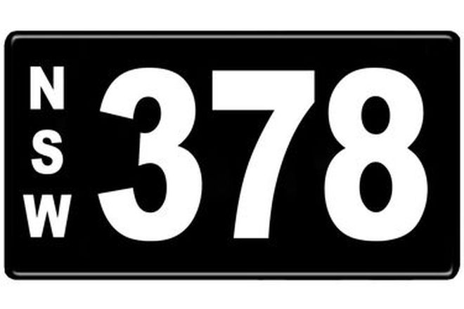 Number Plates - NSW Numerical Number Plates '378'