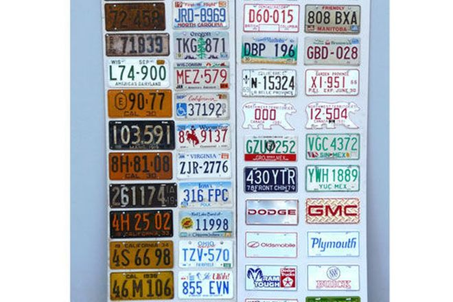 Number Plates - Display of American, Canadian and Mexican number plates mounted on board