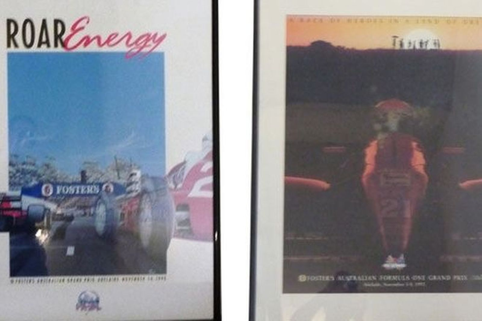 Framed Posters x 10 - Adelaide GP 1985, 1986, 1988-1995 (various sizes approx 110 x 80cm)