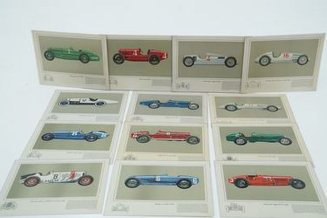 Laminated Prints x 13  - Various Vintage racing cars by Hans A.Muth
