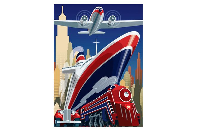 Vinyl Hanging Posters - Art Deco Airplane, Train, Ship
