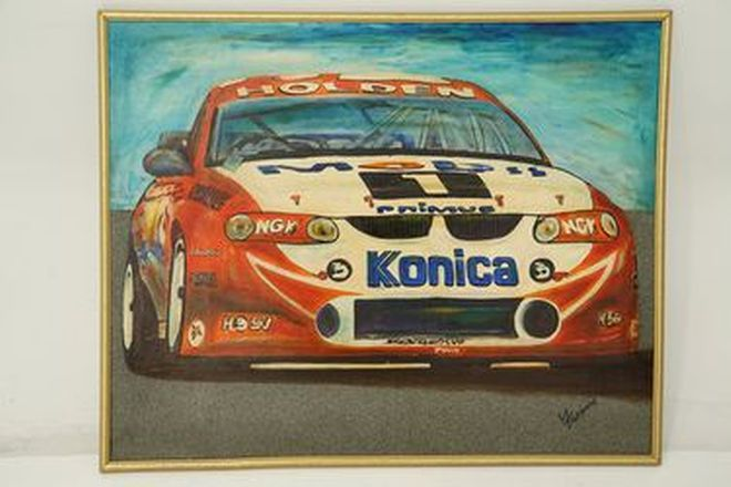 Framed Painting - Mark Skaife HSV Mobil 1 race car signed by artist Garry Fascano (103 x 83cm)