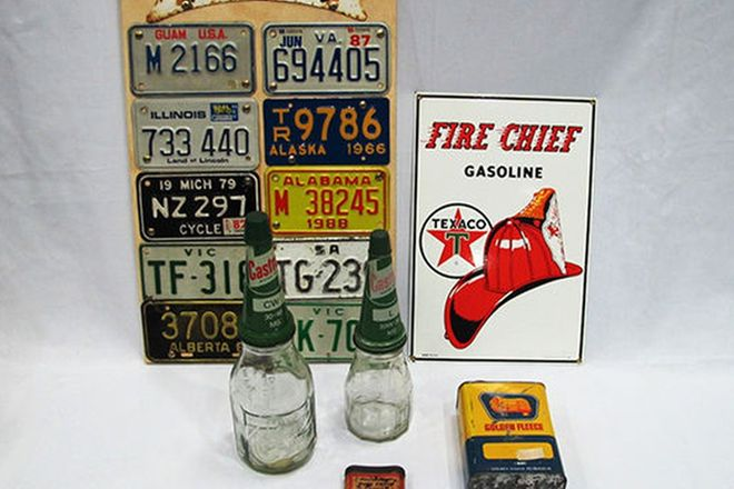 Oil Bottles (Castrol x 2) and Assorted Memorabilia