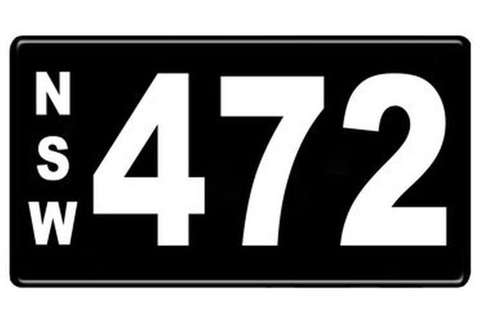 Number Plates - NSW Numerical Number Plates '472'
