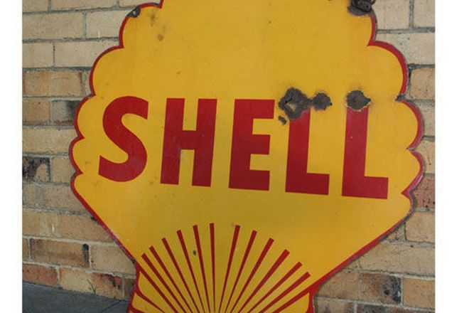 Enamel Sign - Shell Double sided (1m x 1m)
