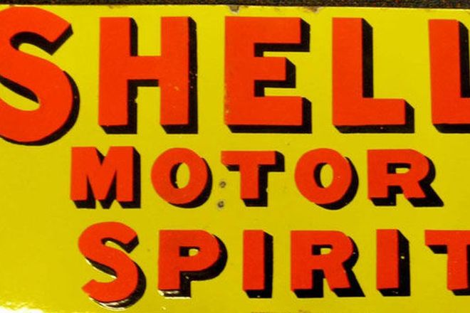 Enamel Sign - c1930's Shell Motor Spirit (Post Mount) Double sided