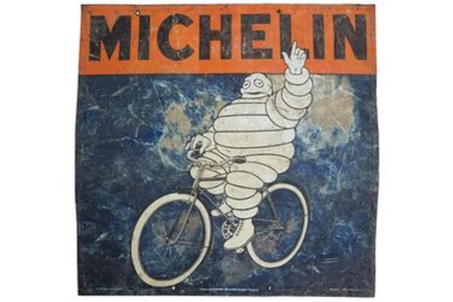 Enamel Sign - c1915 Michelin Bicycle Tyre Double Sided (75 x 75cm)