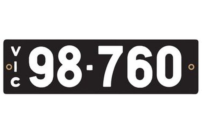 Victorian Heritage Numerical Number Plates '98.760'