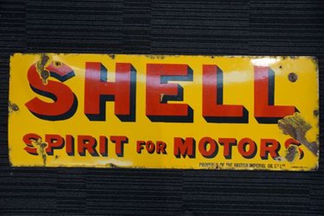 Enamel Sign - Shell (120 x 45cm)