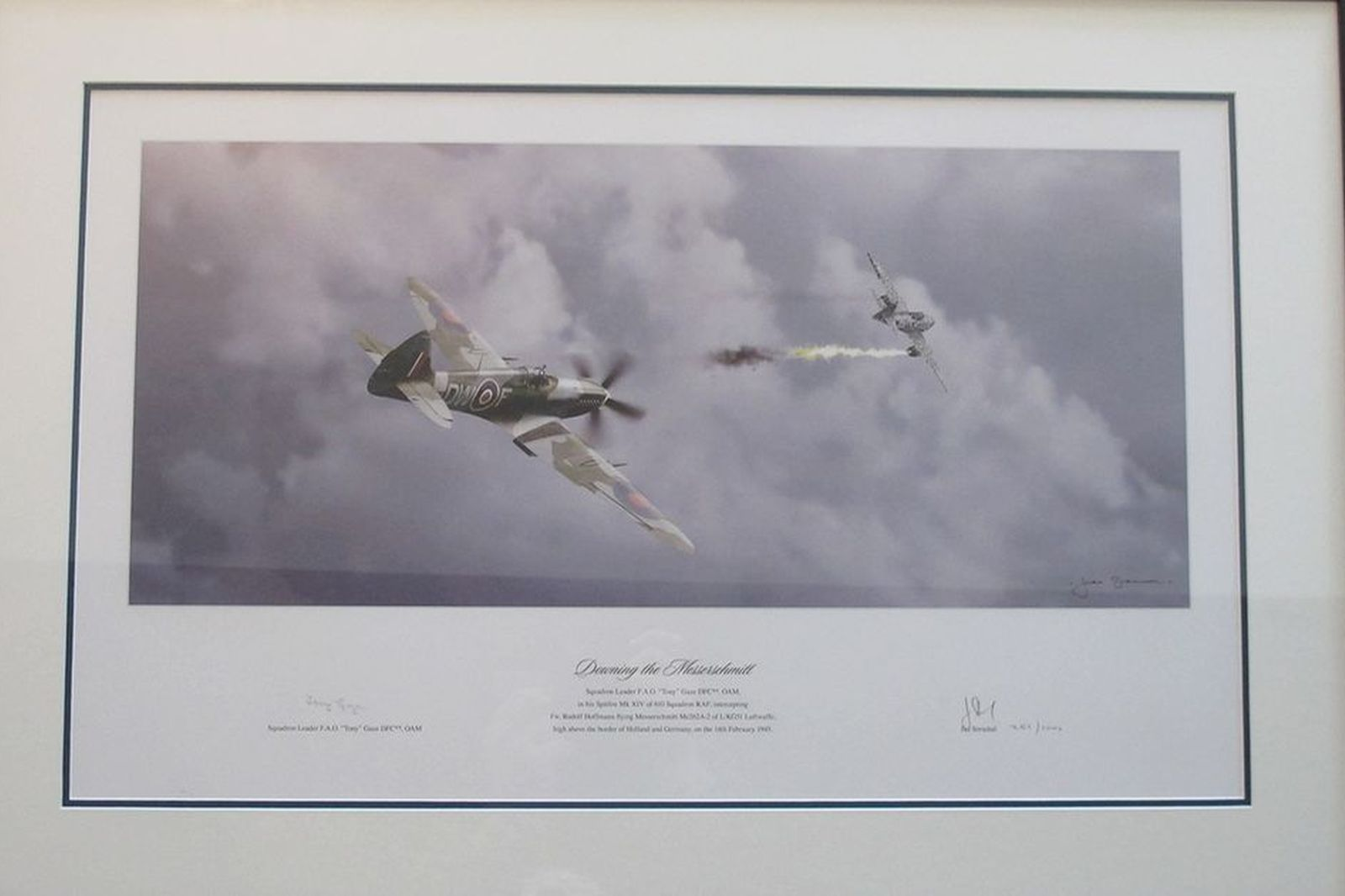 Framed Signed Print 'Downing The Messerschmitt' (85 x 59cm)