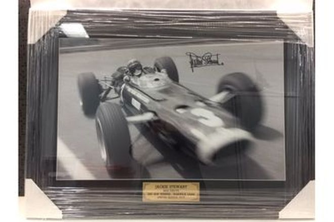 Framed Photo - Jackie Stewart 1967 Warwick Farm AGP Winner (75 x 55cm)