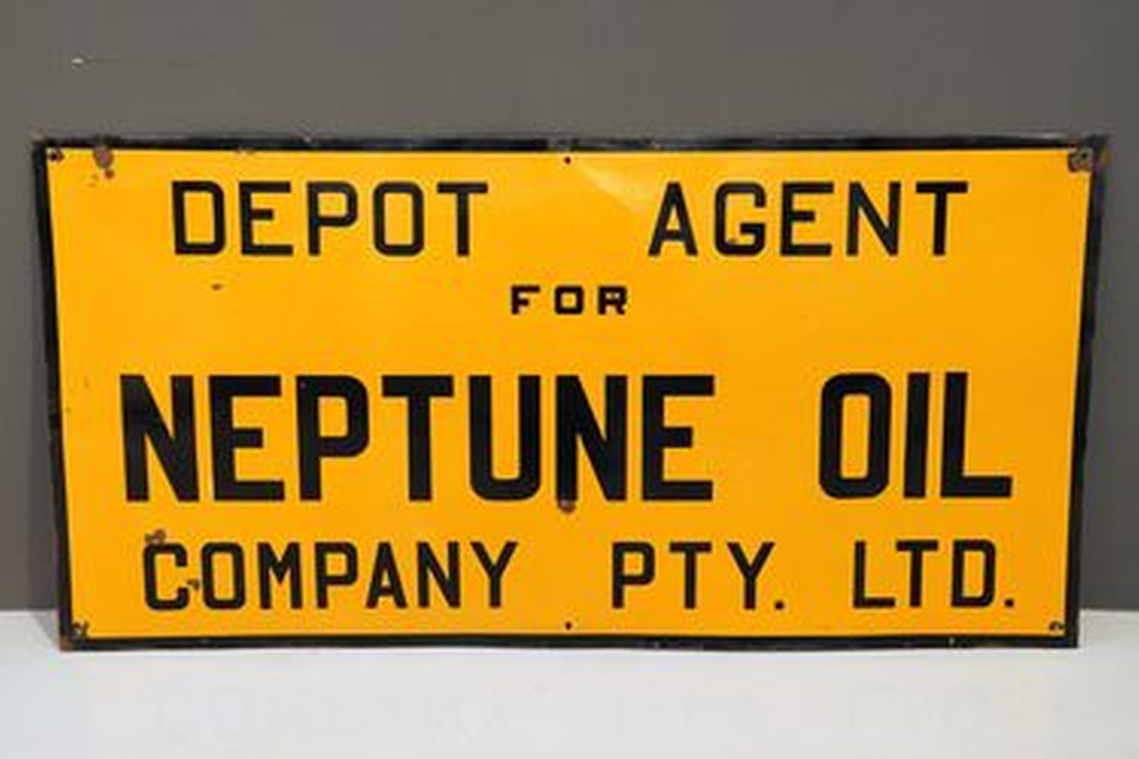 Enamel Sign - Neptune Oil Company Depot Agent (6' by 3')