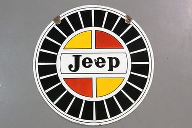 Enamel Sign - Jeep Double Sided Round (76cm Diameter)