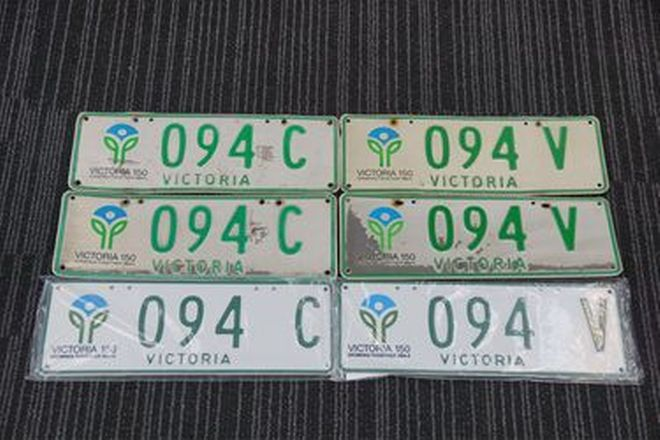 Number Plates x 2 - Victorian '150 Years Commemorative' Number Plates 094C & 094V