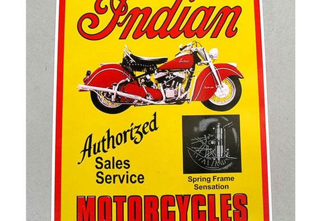 Enamel Sign - Reproduction Indian Sales/Service Sign 60cm x 48cm