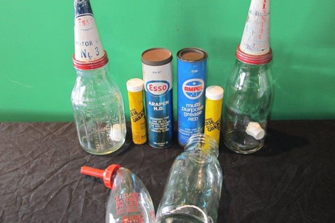 Bottles, Tins & Filler - 3 x Driveway Oil Bottles, 2 x Grease Gun Cartridges & Battery Filler