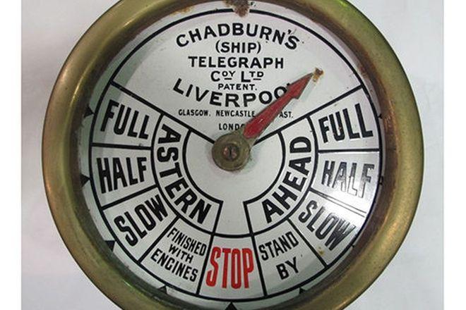 Ships Engine Room Telegraph (Brass) (Chadburns of Liverpool U.K.) (35cm dia.)