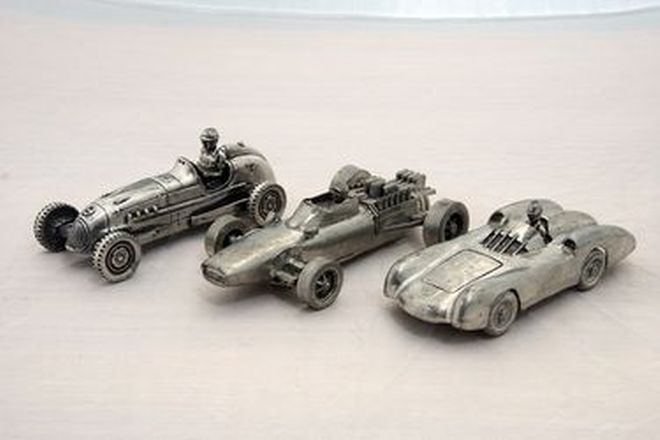 Pewter Models - Assorted 3 Historic Race Cars in Pewter (21cm long)