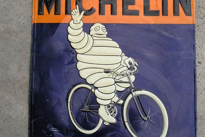 Enamel Sign - Michelin 'Relief' c.1920's Double sided (74cm x 74cm)
