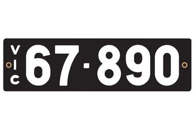Victorian Heritage Numerical Number Plates - '67.890'