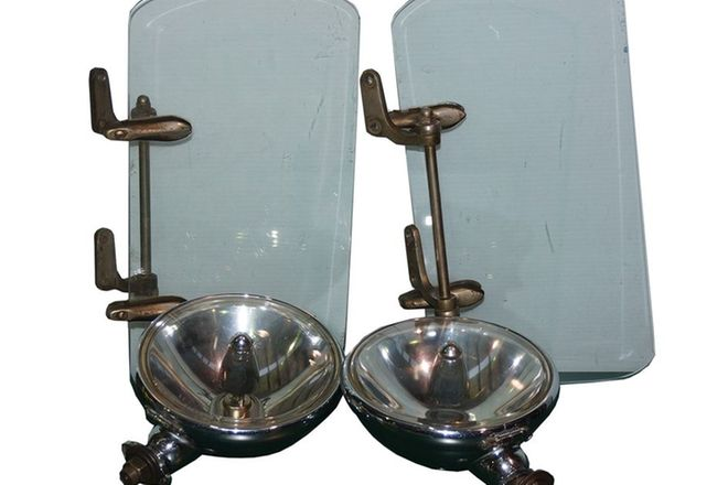 Pair Lucas Flame Thrower Fog Lights & Pair of Vintage Weather Shields