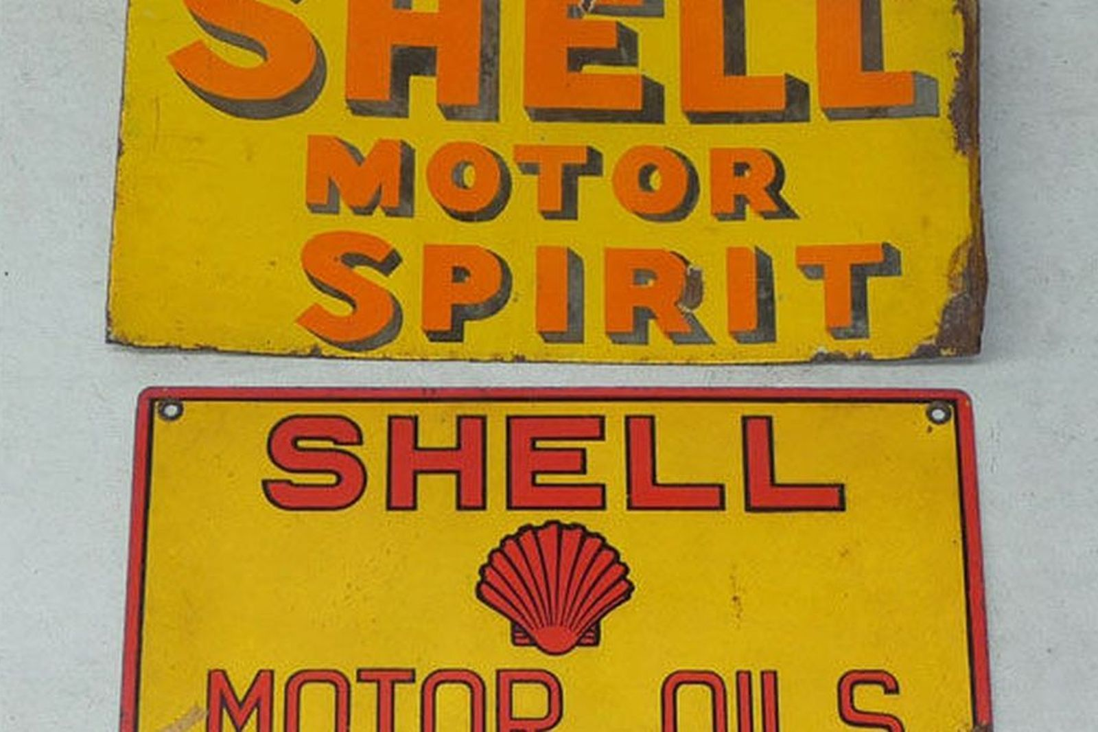 Sold: Enamel Signs x 2 - Shell Double Sided Post Mount
