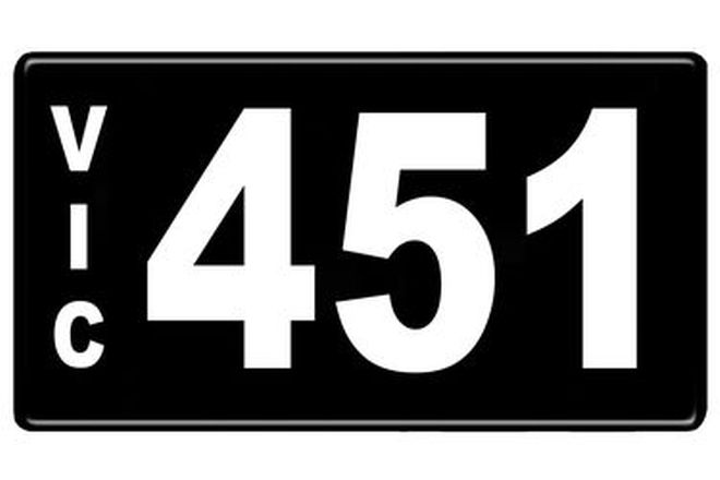 Number Plates - Victorian Numerical Number Plates '451'