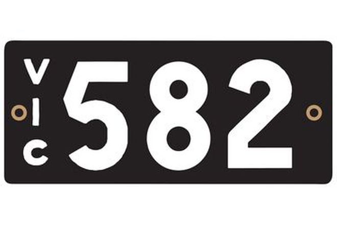Victorian Heritage Number Plates '582'