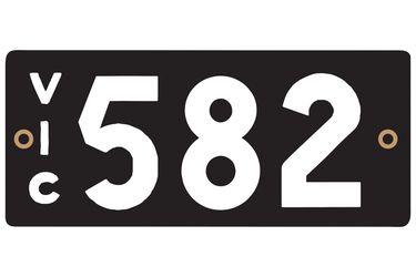 Victorian Heritage Number Plates '582'