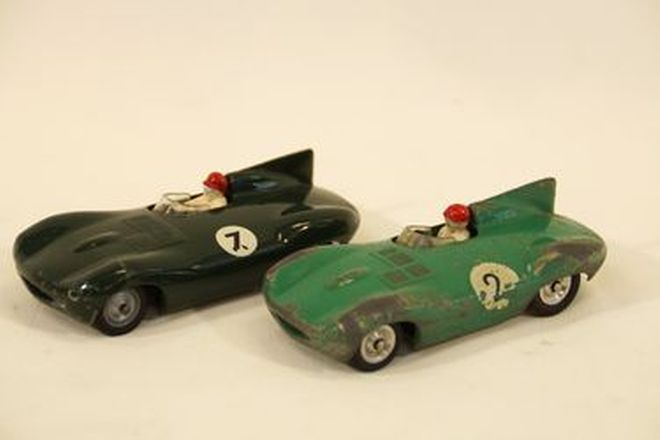 Model Cars x 2 - Solido diecast Jaguar D-Types: #2 Light Green (average) & #7 BRG (good condition)